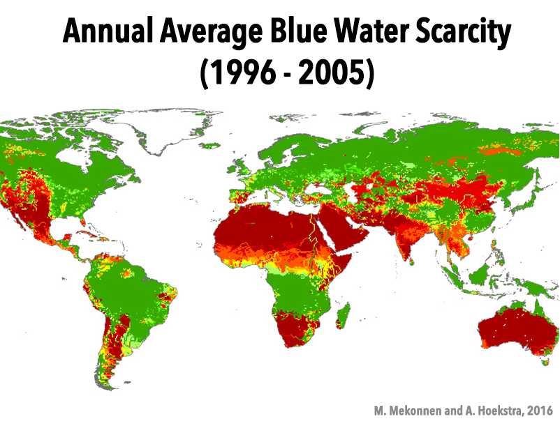 Map of annual average blue water scarcity, 1996-2005