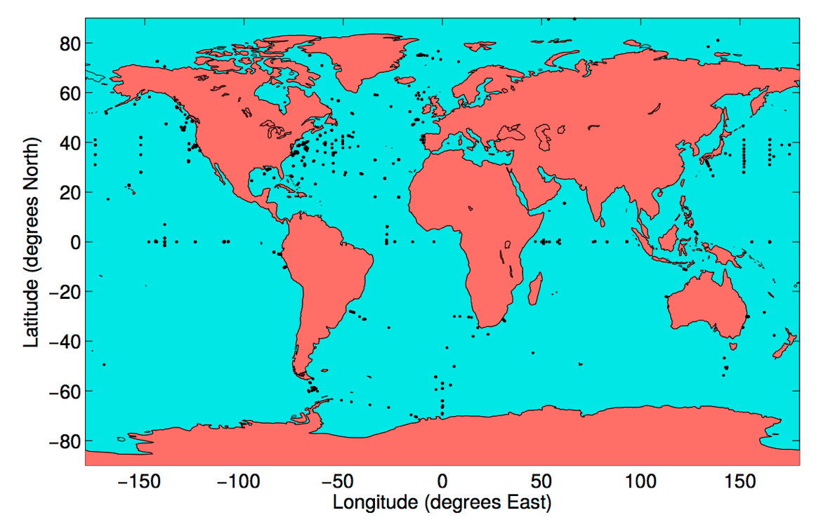 Locations of historical moored temperature time series observations