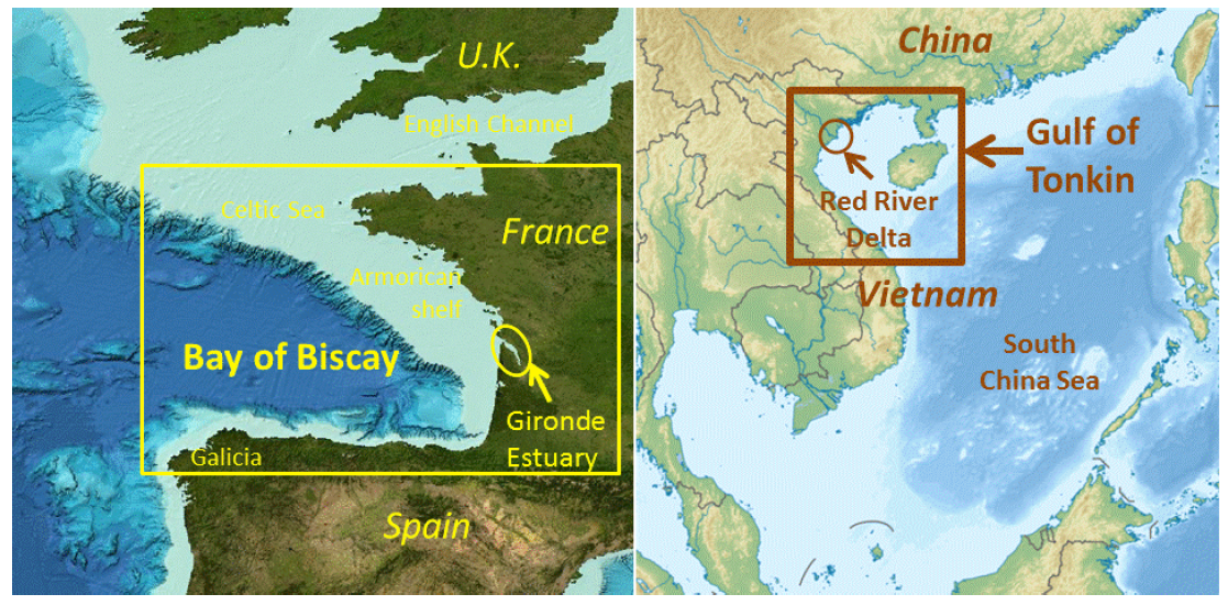 Bay of Biscay GEBCO bathymetry basemap (left) and South China Sea bathymetry (right)