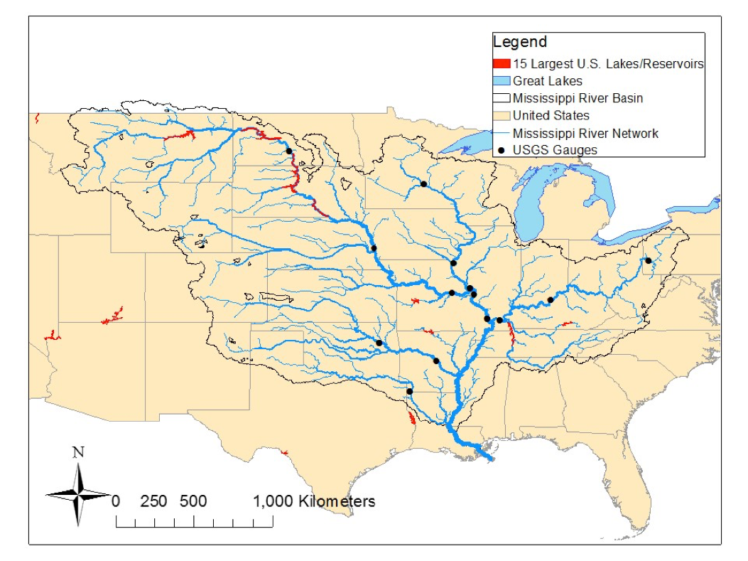 The largest rivers and lakes/reservoirs of the Mississippi Basin that should be seen by SWOT and the 14 gauges currently located on the main stems, highlighting the sparseness of current observations