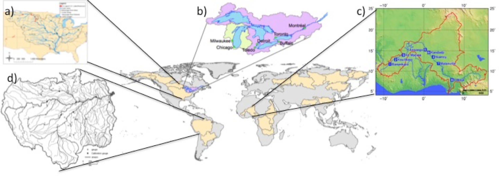 The largest basins studied with models