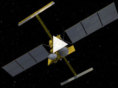 Video cover page showing artist's concept of a satellite in orbit