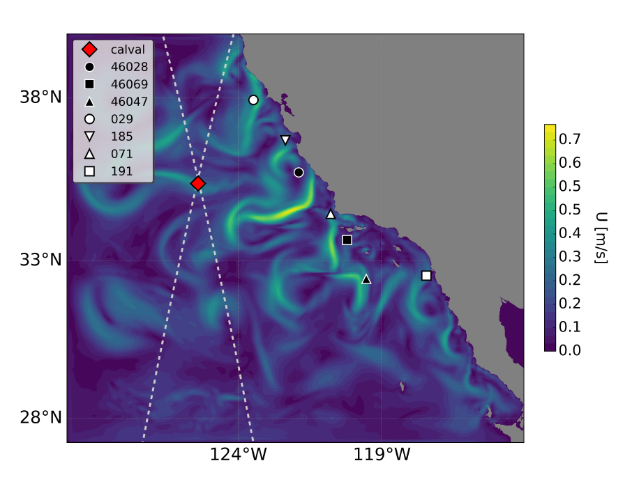Snapshot for 16 April 2012 of the surface speed from the California Current System State Estimate (CASE)