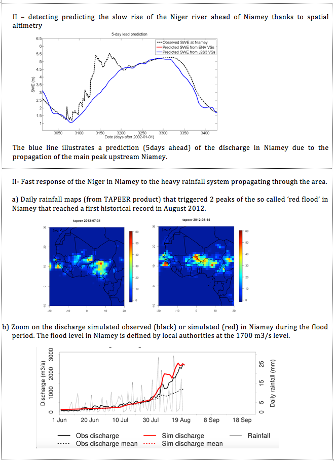 Towards a prediction of Niger river flood in Niamey by combining monitoring of the upstream discharge by satellite altimetry and simulating the local runoff due to heavy storms near Niamey