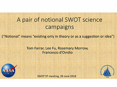 A Pair of Notional SWOT Science Campaigns