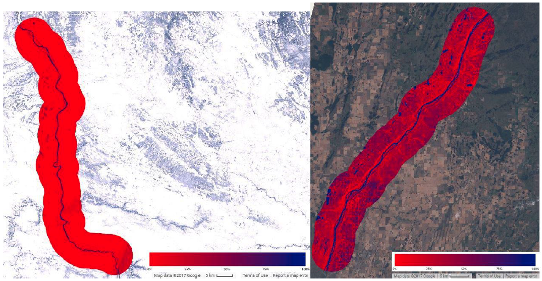 Inundation frequency maps of the Arctic Red (left) and North Saskatchewan (right) Rivers