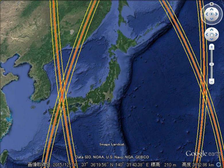 Ground tracks of the 1-day repeat cal/val phase around Japan