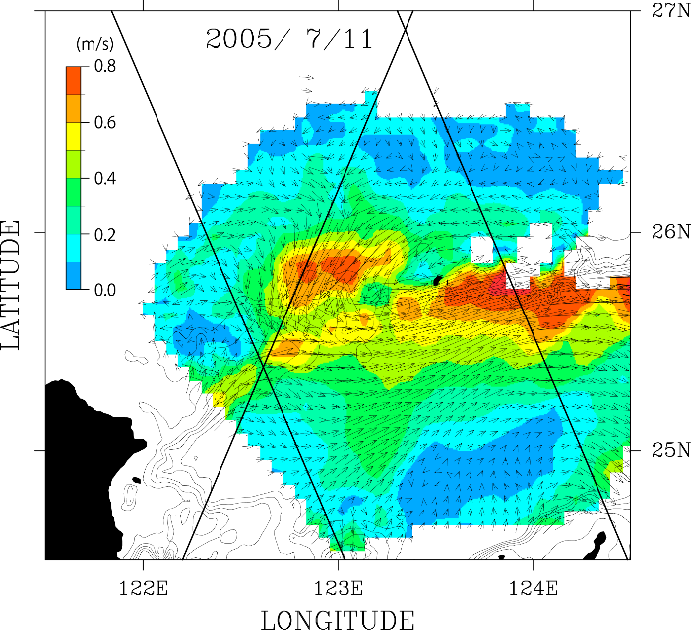 Daily mean of sea surface current anomaly from long term mean in the northeast of Taiwan observed by the Long Range Ocean Radar