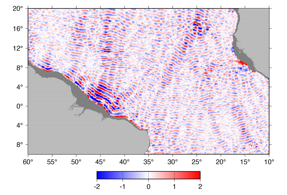 A snapshot of sea surface height (cm) of the M2 internal tide