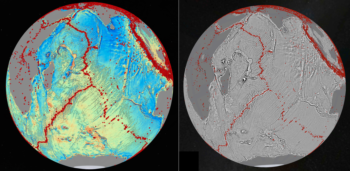 Global marine gravity (left) and vertical gravity gradient (VGG – right) for the Indian Ocean