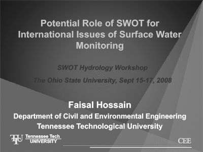 Potential Role of SWOT for International Issues of Surface Water Monitoring