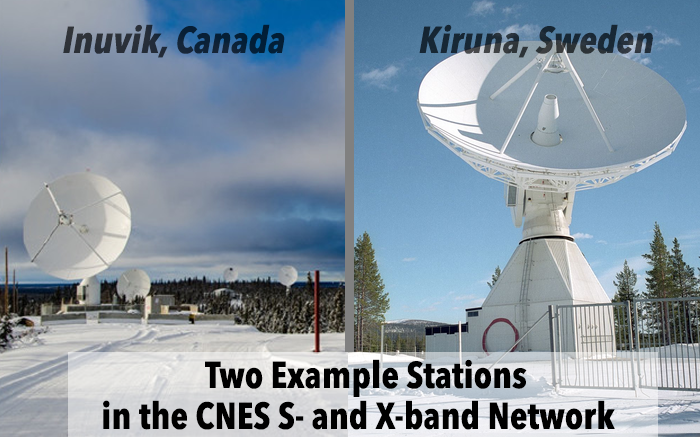 Two example stations in the CNES s- and x-band network