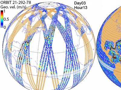 SWOT's nominal coverage during its 3-year science orbit; maps show the coverage after 3 days (left) and the full 21 days (center) of a complete cycle