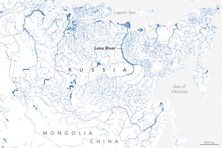 Map of world rivers and their widths